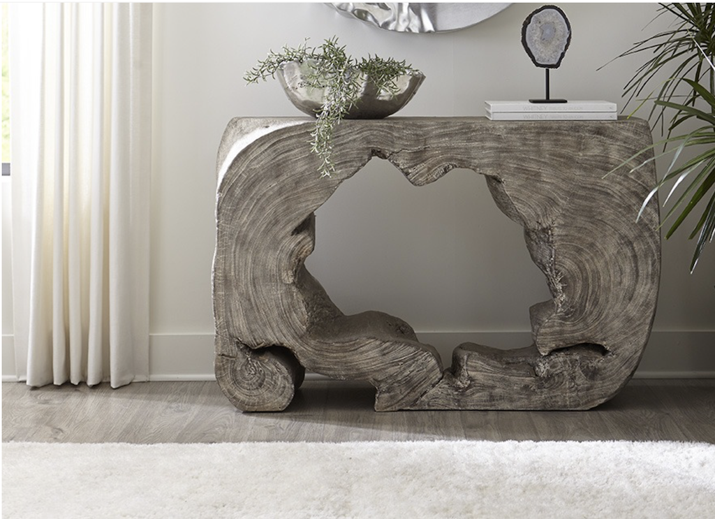 One of many unique Chamcha wood console tables. This one will eventually be included in the Aperture family of consoles.