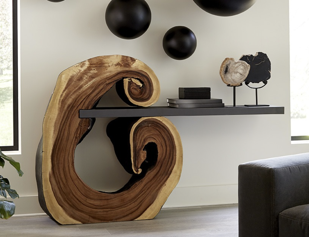 This Cantilevered Console table seems vibrantly alive as it reveals its growth rings, one of many in the Origins by Phillips Collection.