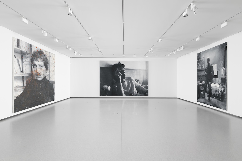 This view of Galerie 4 includes three paintings by Rudolf Stingel, (left to right) Untitled (Franz West), 2011; Untitled (Paula), 2012; and Untitled (Ernst Ludwig Kirchner), 2010. Paintings © Rudolf Stingel. Courtesy Paula Cooper Gallery, New York. Photo credit: Aurélien Mole.