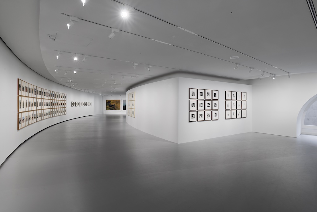 A view of the exposition in Galerie 3 featuring Sherrie Levine's After Russell Lee, 2016; Richard Prince's Untitled (Cowboy), 2015; and Michel Journiac's 24 heures de la vie d'une femme ordinaire, 1974. Image © Sherrie Levine, Richard Prince, and Michel Journiac; photo credit: Aurélien Mole.